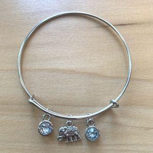 Handmade white + silver expandable charm bracelet